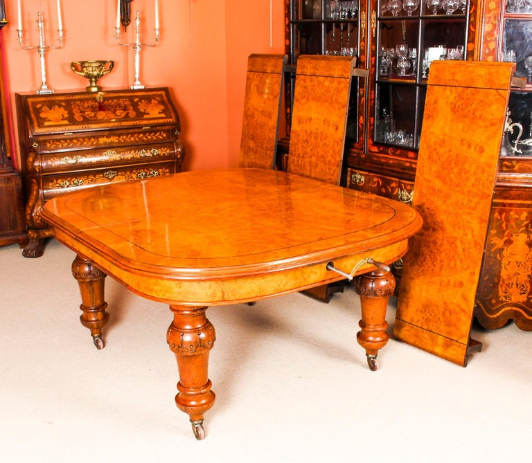 Walnut Antique Pollard Oak Victorian Extending Dining Table 19th Century and 10 Chairs