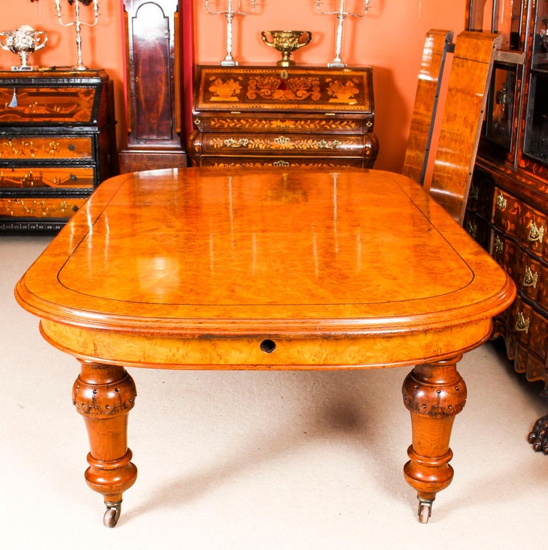 Antique Pollard Oak Victorian Extending Dining Table 19th Century and 10 Chairs For Sale 1