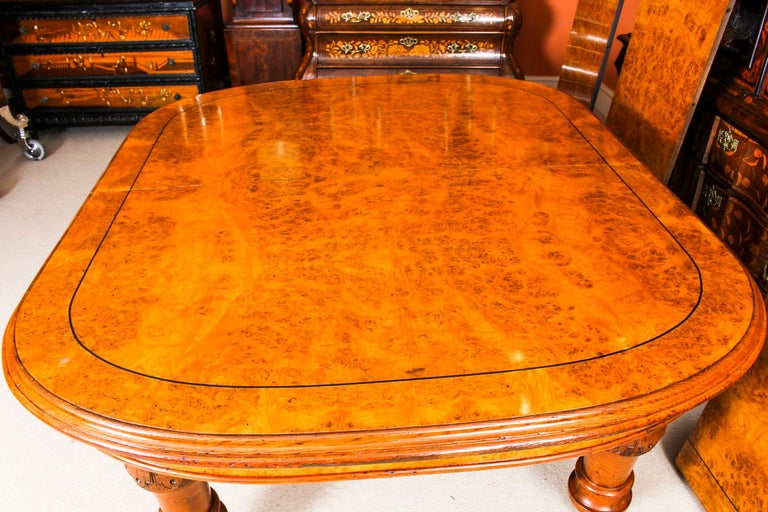 Antique Pollard Oak Victorian Extending Dining Table 19th Century and 10 Chairs 1