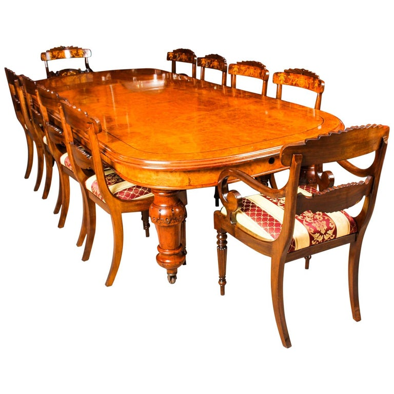 Antique Pollard Oak Victorian Extending Dining Table 19th Century and 10 Chairs