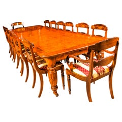 Antique Pollard Oak Victorian Extending Dining Table 19th Century and 12 Chairs