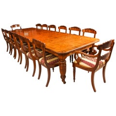 Antique Pollard Oak Victorian Extending Dining Table 19th Century & 12 Chairs