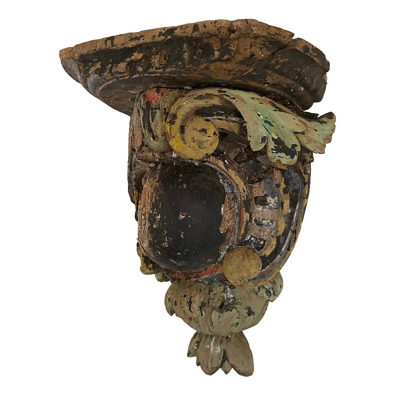 Antique Poly-Chrome Hand Carved Oak Bracket