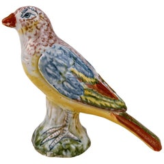 Antique Polychrome A Pennis Attributed Dutch Delft Pottery Bird Figurine / Model