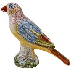 Antique Polychrome A Pennis Attributed Dutch Delft Pottery Bird Figurine / Model