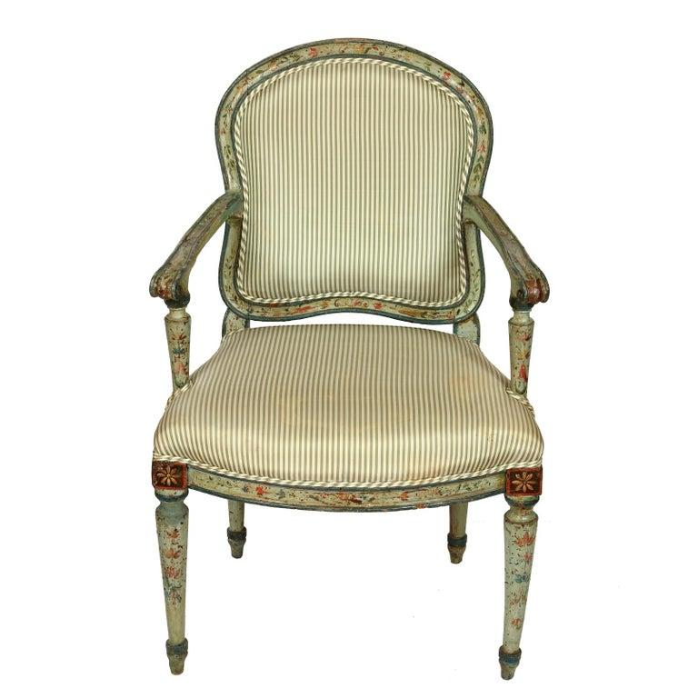 Louis XVI Antique Polychrome Armchair in Green Silk Ticking Stripe For Sale