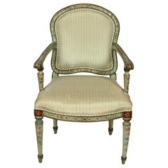Antique Polychrome Armchair in Green Silk Ticking Stripe