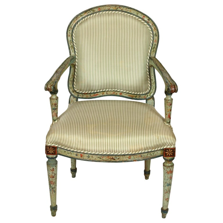 Antique Polychrome Armchair in Green Silk Ticking Stripe For Sale