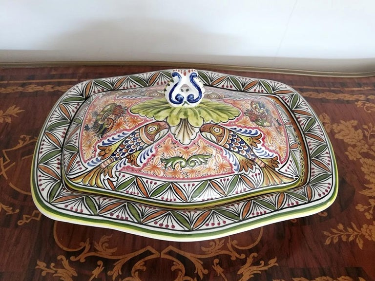 Country Antique Polychrome Delft Hand Painted 17th Century Portuguese Ceramic Tureen/Lid For Sale