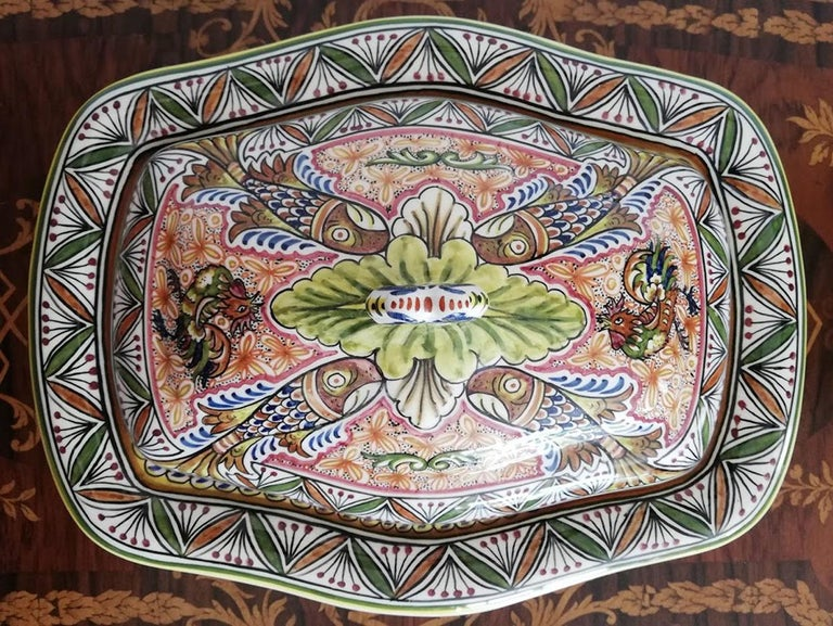 Hand-Painted Antique Polychrome Delft Hand Painted 17th Century Portuguese Ceramic Tureen/Lid For Sale