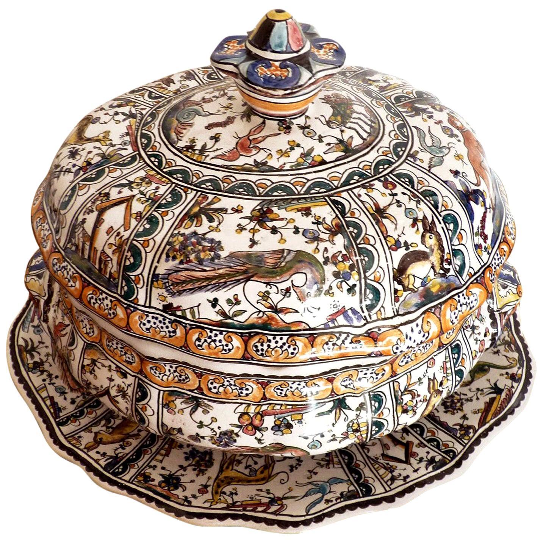 Antique Polychrome Delft Hand Painted 17th Century Portuguese Ceramic Tureen Lid