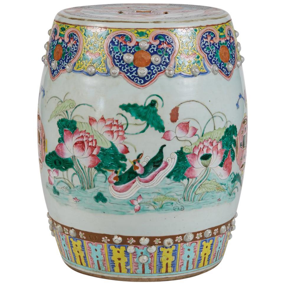 Antique Polychrome Enameled  Chinese Porcelain Garden Seat