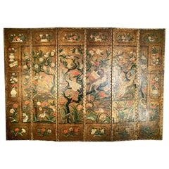 Antique Polychrome Painted and Gilt Decorated Six-Fold Leather Screen