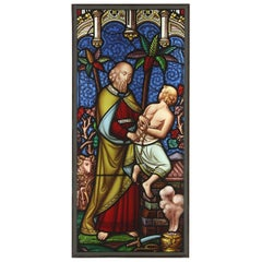 Antique Polychrome Religious Stained Glass, 20th Century