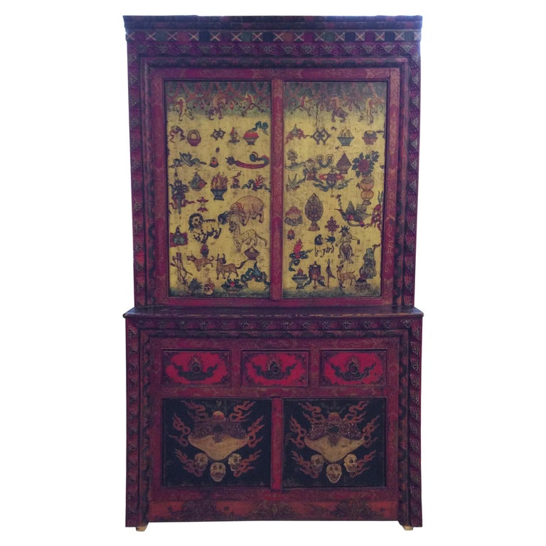 Antique Polychrome Tibetan Cabinet For Sale - Antique Polychrome Tibetan Cabinet At 1stdibs