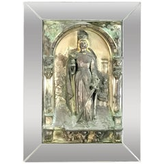 Antique Polychromed and Mirrored Relic of St. Barbara