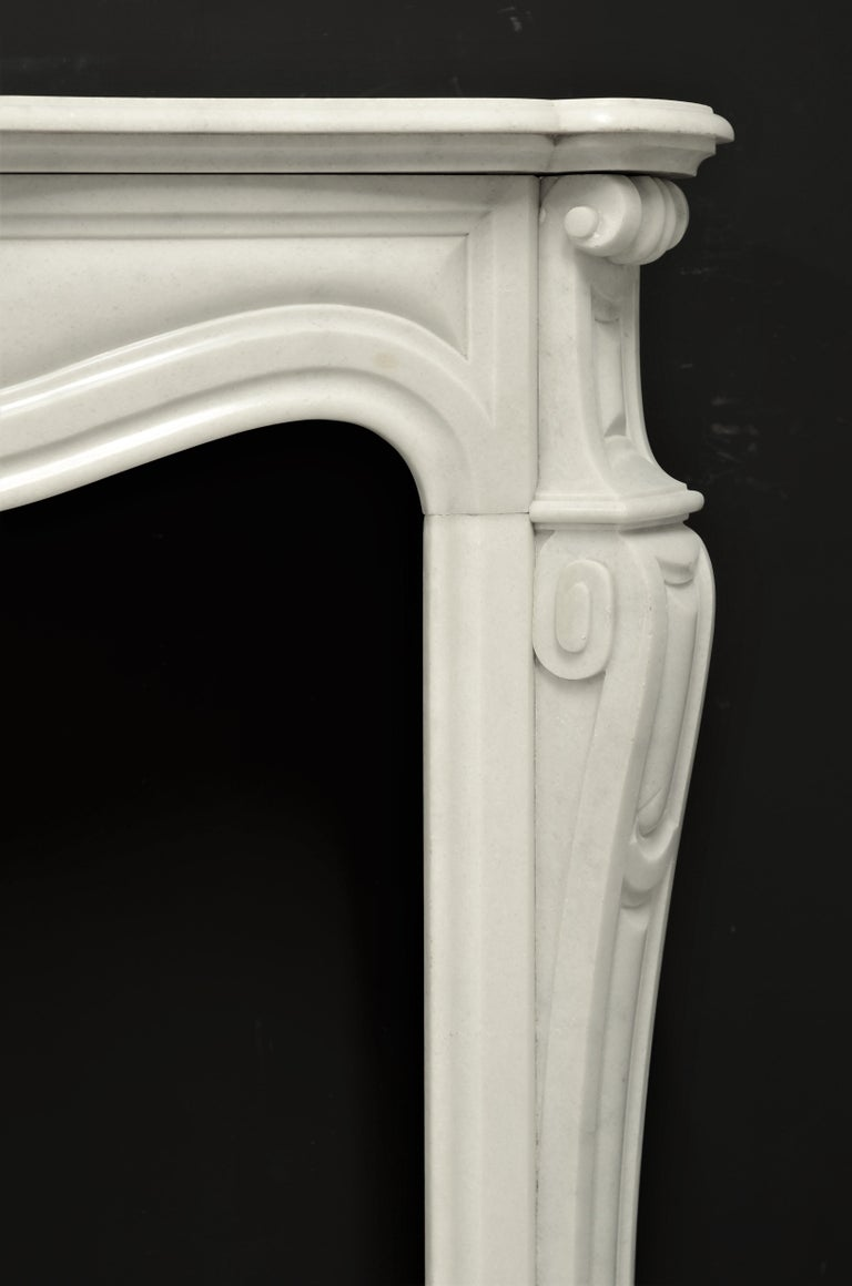 French Antique Pompadour Style Fireplace Mantel For Sale