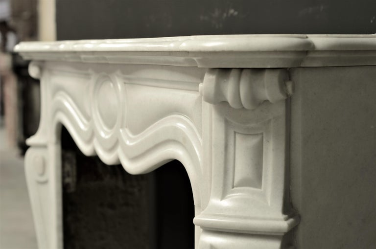 19th Century Antique Pompadour Style Fireplace Mantel For Sale