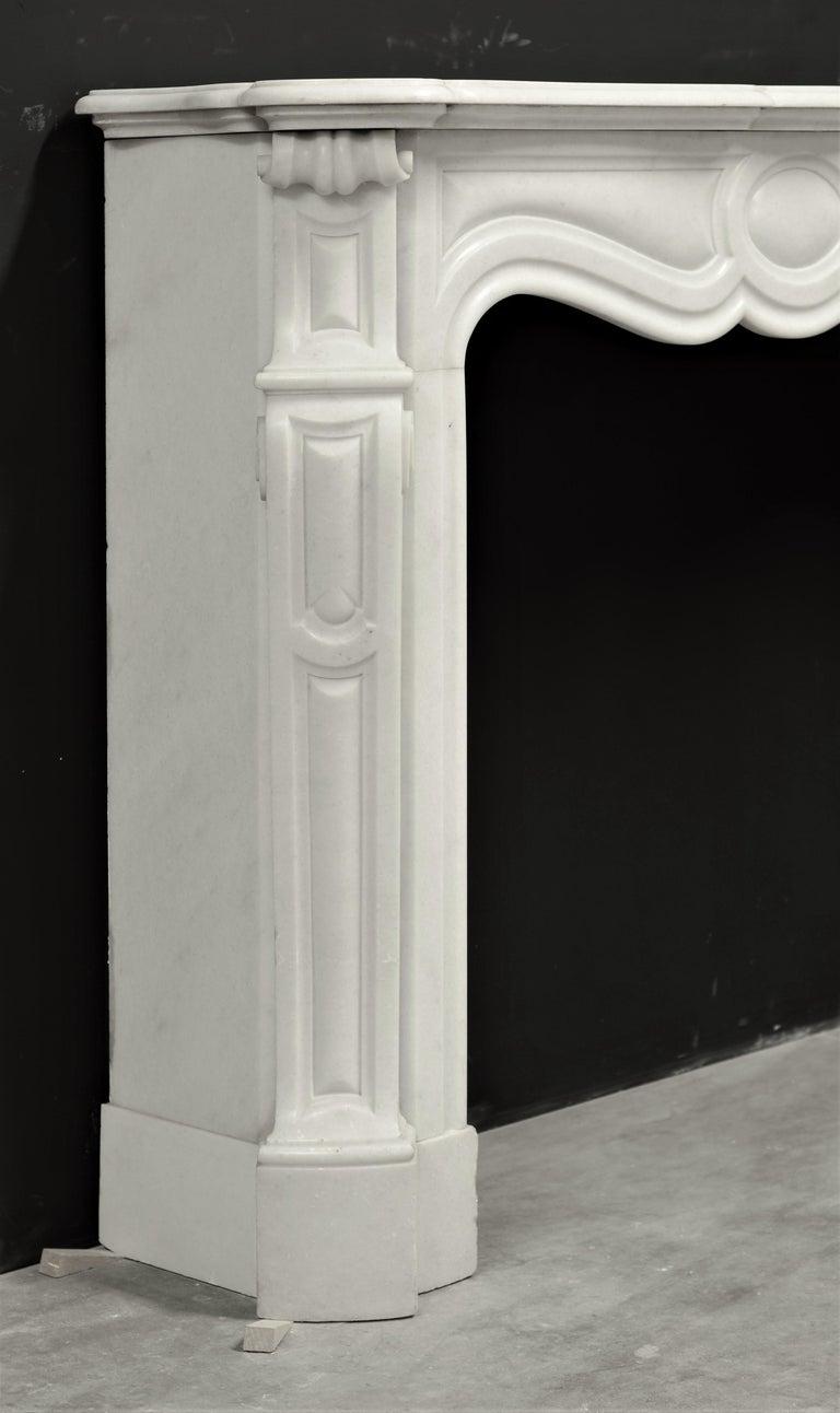 Marble Antique Pompadour Style Fireplace Mantel For Sale