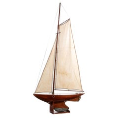 Antique Pond Yacht with Planked Deck and Fully Rigged on Stand