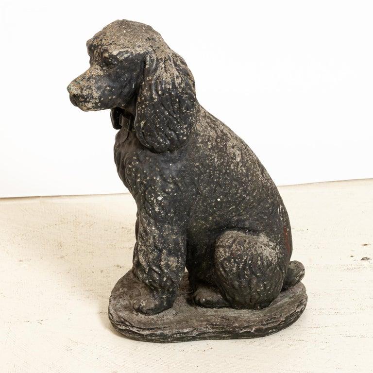 Appliqué Antique Poodle Dog Garden Ornament For Sale
