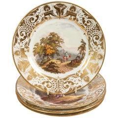 Antique Porcelain Dishes with Hand-Painted Landscape Scenes