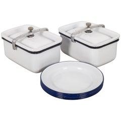 Antique Porcelain Food Storage Containers/Plates, circa 1918