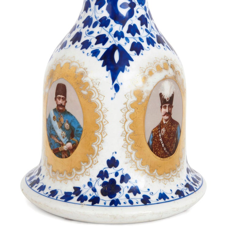 Islamic Antique Porcelain Huqqa for Persian Market For Sale