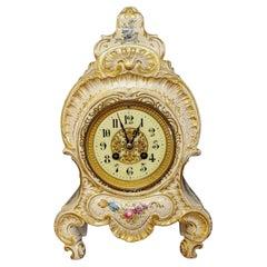 Antique Porcelain Mantle Shelf Clock Bailey Banks, 19th Century