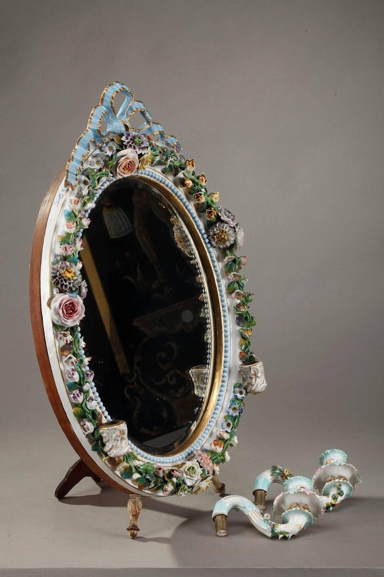 Antique Porcelain Mirror with Barbotine Floral Decoration in Meissen Style For Sale 4