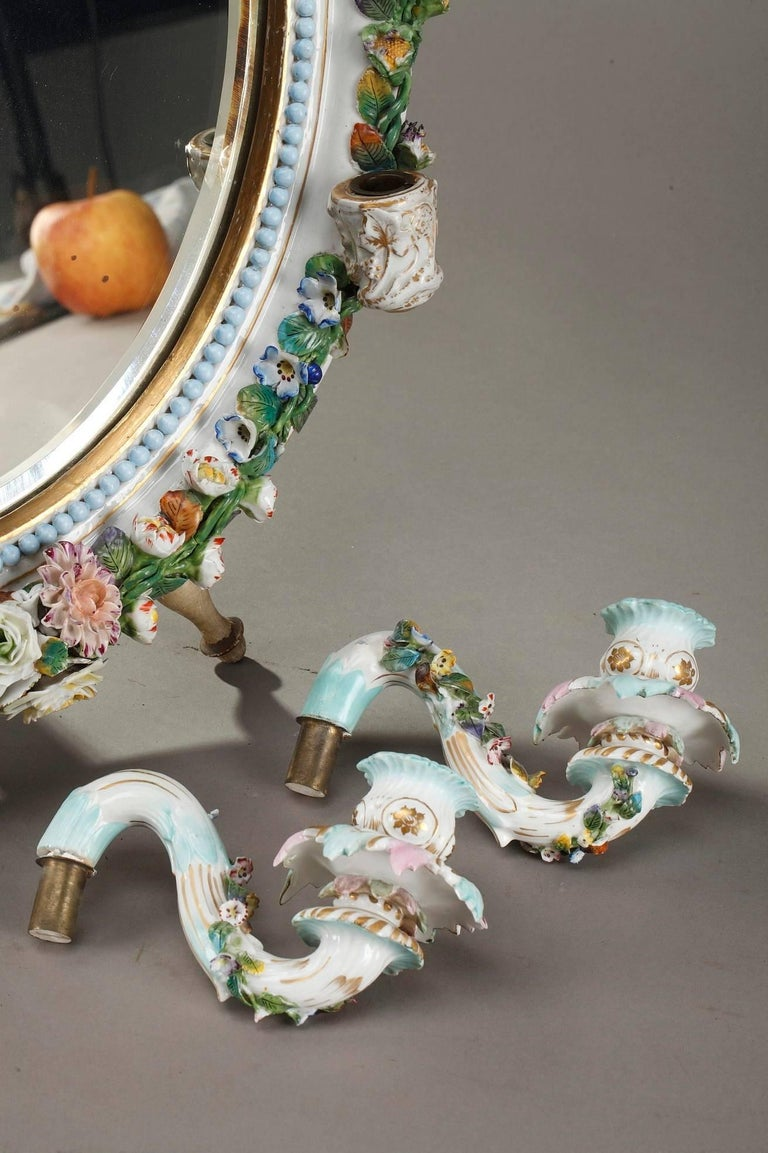 Antique Porcelain Mirror with Barbotine Floral Decoration in Meissen Style For Sale 5