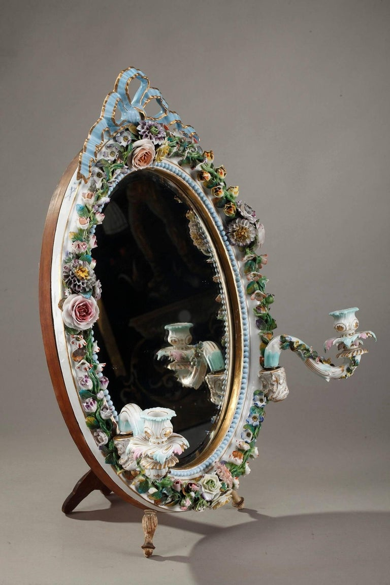 Antique Porcelain Mirror with Barbotine Floral Decoration in Meissen Style For Sale 7