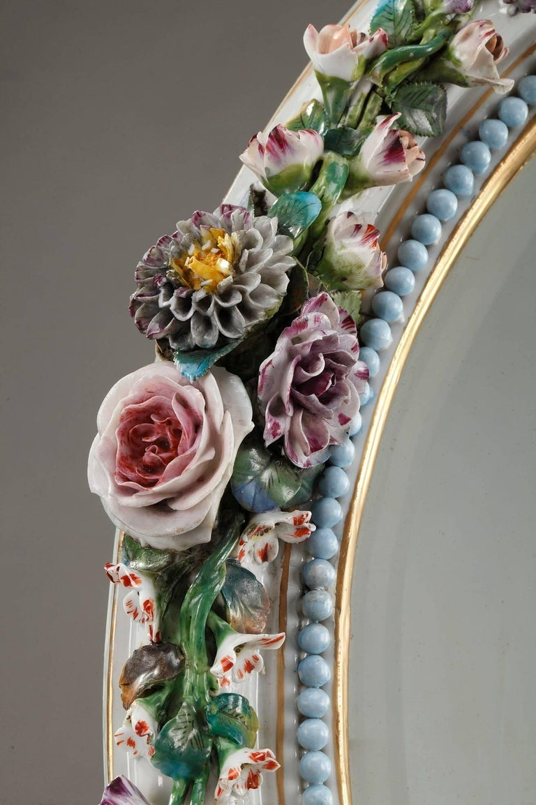 Antique Porcelain Mirror with Barbotine Floral Decoration in Meissen Style For Sale 1