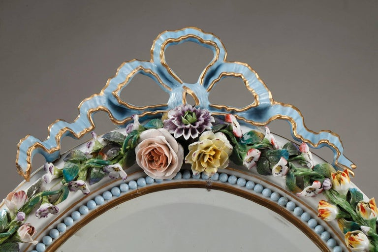 Antique Porcelain Mirror with Barbotine Floral Decoration in Meissen Style For Sale 2