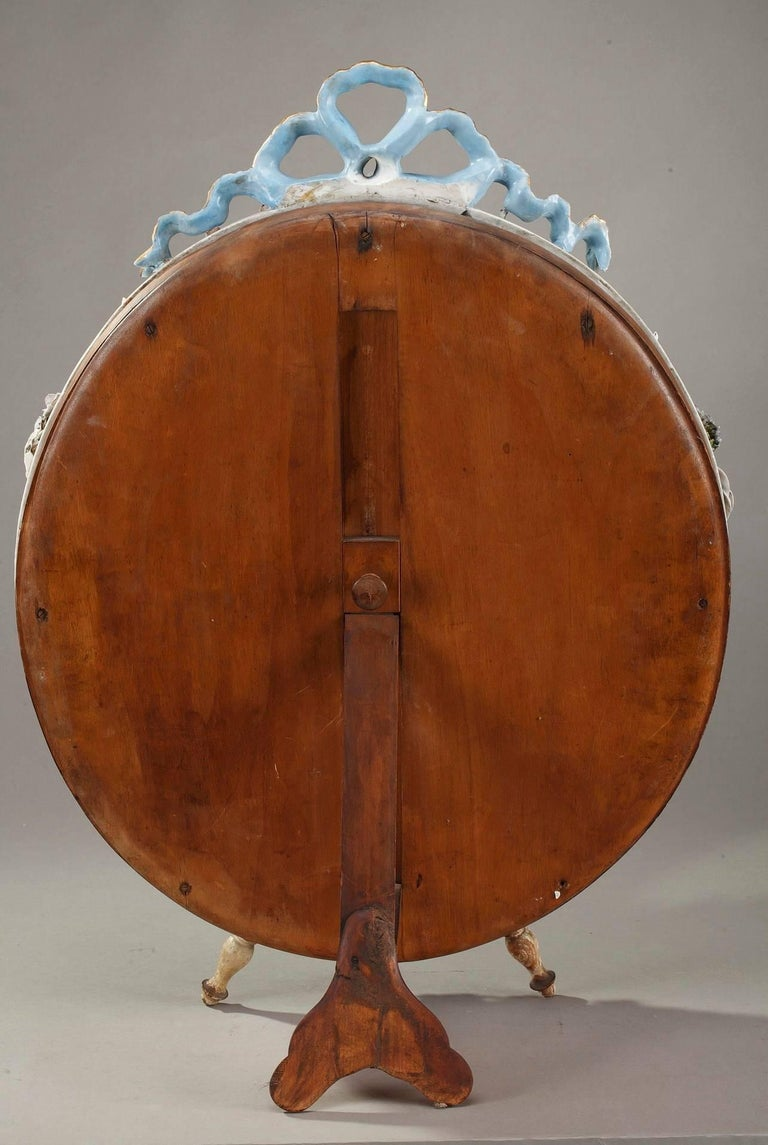 Antique Porcelain Mirror with Barbotine Floral Decoration in Meissen Style For Sale 3