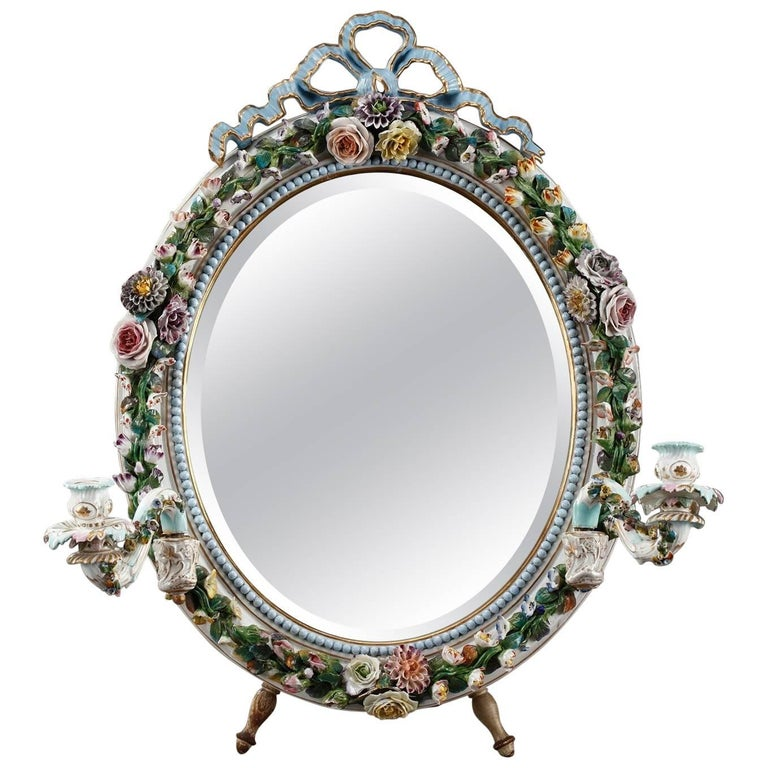 Antique Porcelain Mirror with Barbotine Floral Decoration in Meissen Style For Sale