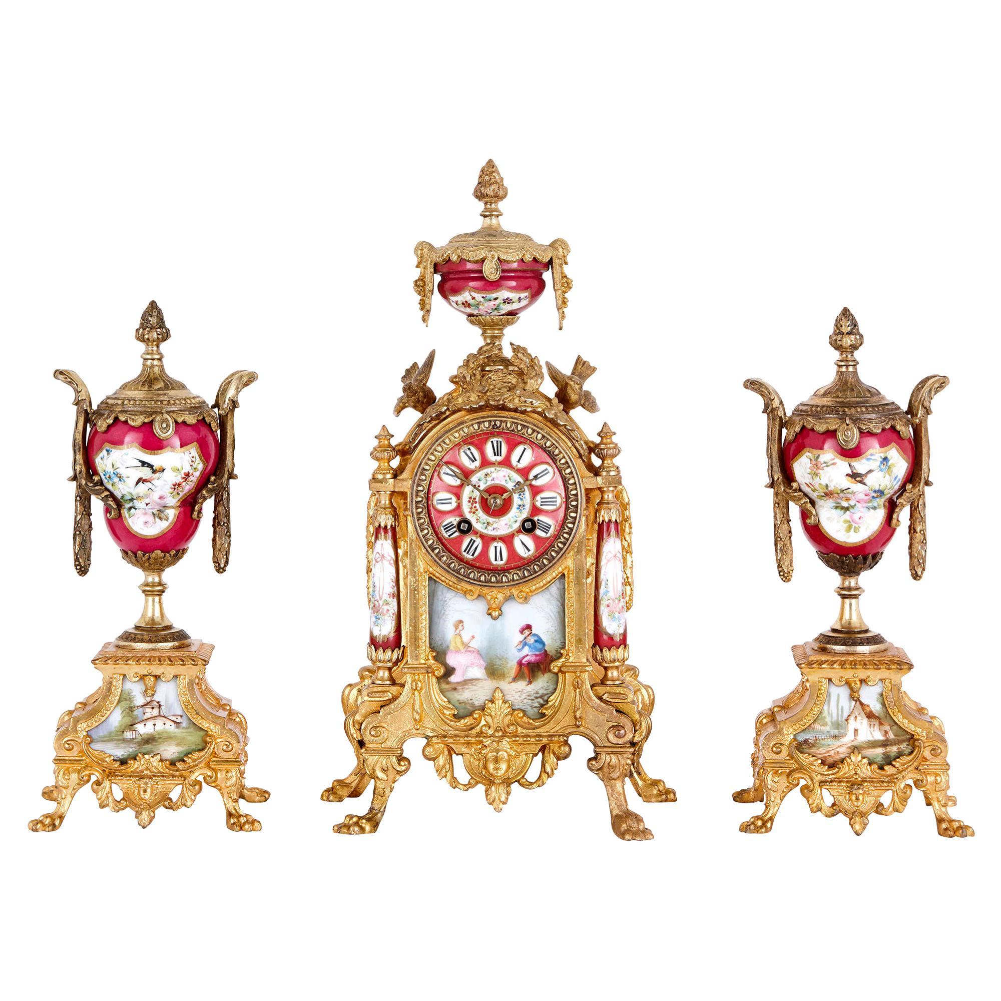 Antique Porcelain Mounted Gilt Metal Clock Set