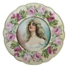 """Antique Porcelain MZ Austria Portrait or Cabinet Plate signed """"Constance"""""""