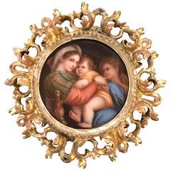 Antique Porcelain Plaque Madonna and Child in Gilt Frame
