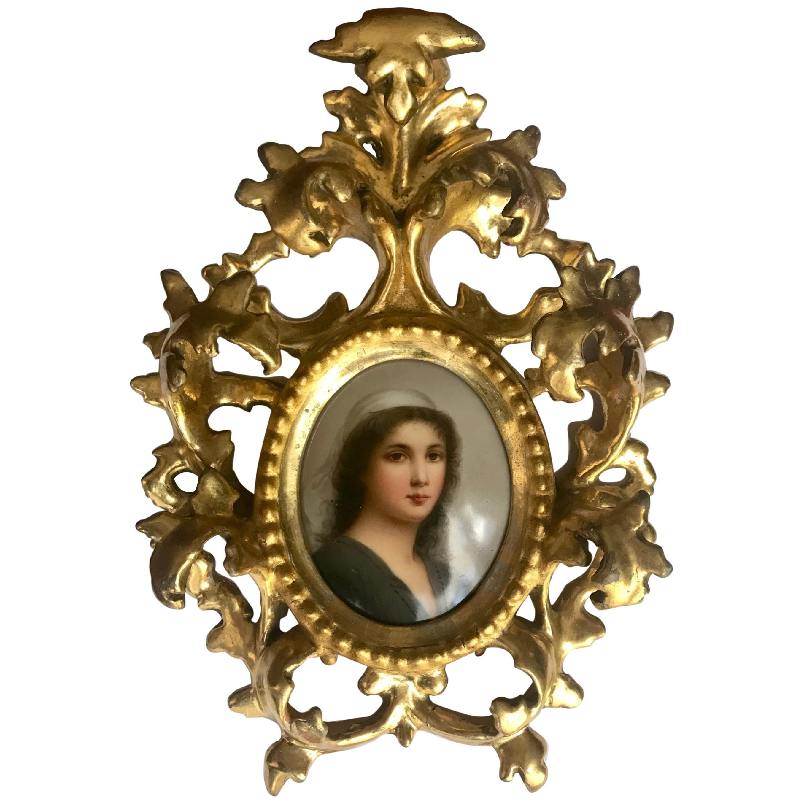 Antique Porcelain Portrait Miniature Plaque KPM Style