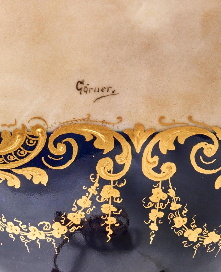 Antique Porcelain Royal Vienna Table Lamp Artist Signed For Sale 3