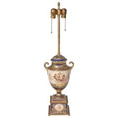 Antique Porcelain Royal Vienna Table Lamp Artist Signed