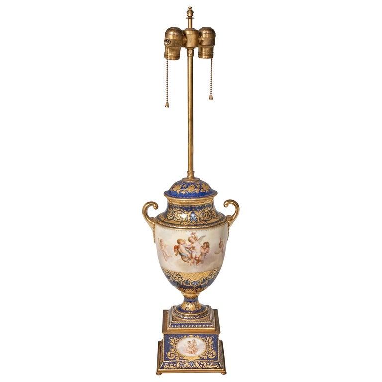 Antique Porcelain Royal Vienna Table Lamp Artist Signed For Sale