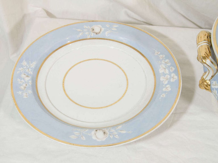 Antique Worcester Porcelain Soup Tureen Painted Baby Blue Circa 1820 For Sale 5