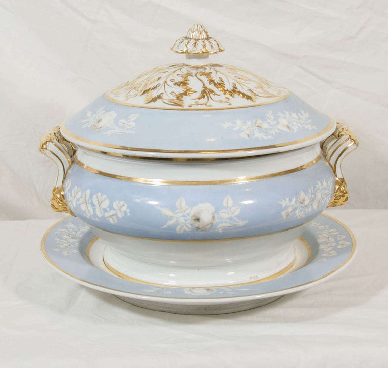 Regency Antique Worcester Porcelain Soup Tureen Painted Baby Blue Circa 1820 For Sale