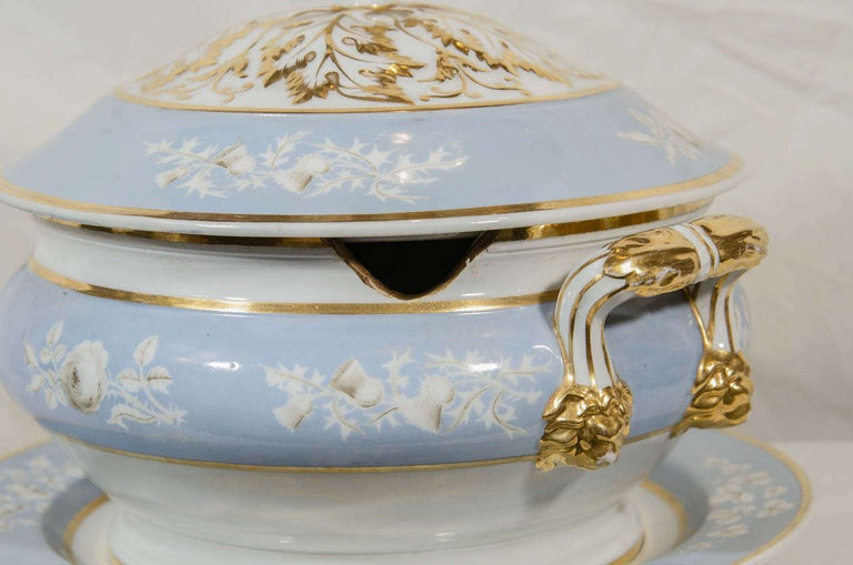 Antique Worcester Porcelain Soup Tureen Painted Baby Blue Circa 1820 For Sale 1