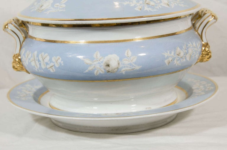 Antique Worcester Porcelain Soup Tureen Painted Baby Blue Circa 1820 For Sale 3