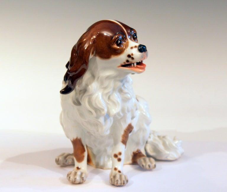 Baroque Antique Porcelain Spaniel Dog Samson Meissen Dresden Paris German French Figure For Sale