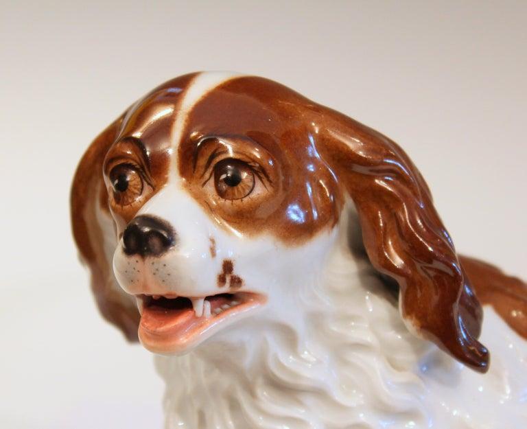Antique Porcelain Spaniel Dog Samson Meissen Dresden Paris German French Figure In Good Condition For Sale In Wilton, CT