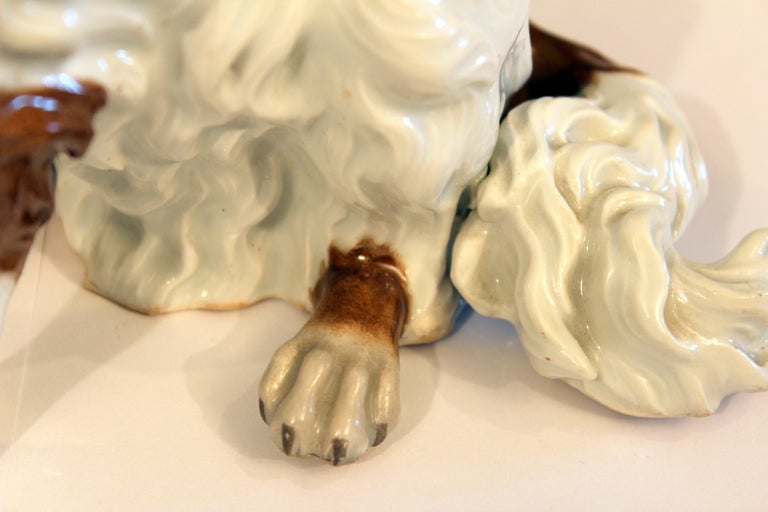 Early 1900s Antique Porcelain Spaniel Dog Samson Meissen Dresden Paris German French Figure For Sale